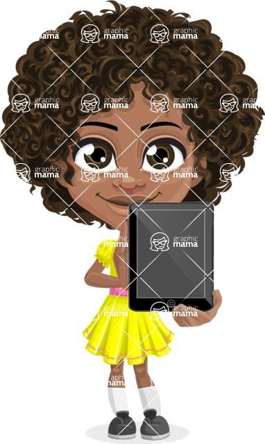 Cute Curly African American Girl Cartoon Vector Character AKA Alana - Tablet 1