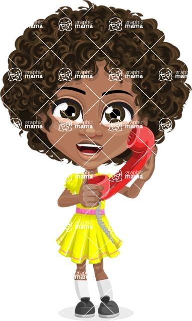 Cute Curly African American Girl Cartoon Vector Character AKA Alana - Homeline