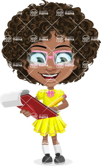Cute Curly African American Girl Cartoon Vector Character AKA Alana - Taking Notes