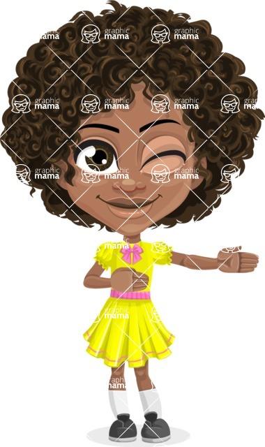 Cute Curly African American Girl Cartoon Vector Character AKA Alana - Show 2