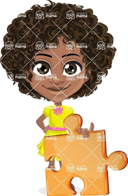 Cute Curly African American Girl Cartoon Vector Character AKA Alana - Puzzle