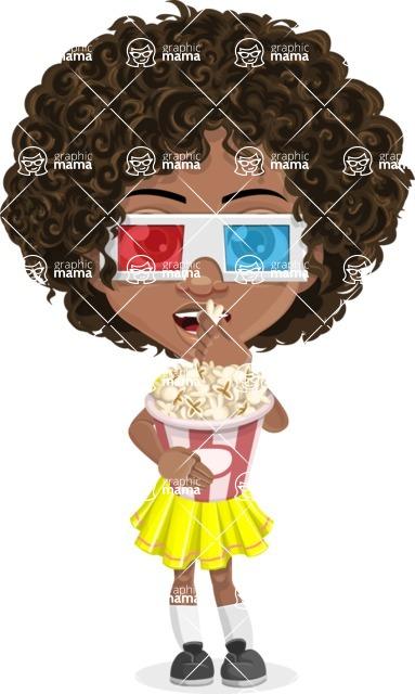 Cute Curly African American Girl Cartoon Vector Character AKA Alana - 3D Glasses