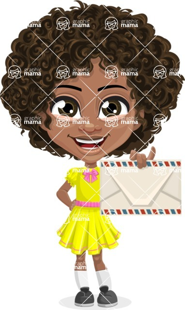 Cute Curly African American Girl Cartoon Vector Character AKA Alana - Letter