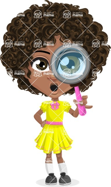 Download Cute Curly African American Girl Cartoon Vector Character ...