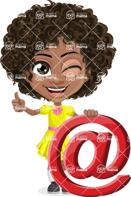 Cute Curly African American Girl Cartoon Vector Character AKA Alana - Mail