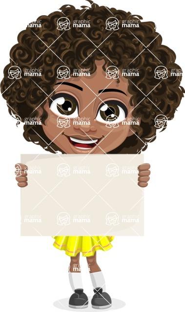 Cute Curly African American Girl Cartoon Vector Character AKA Alana - Sign 1
