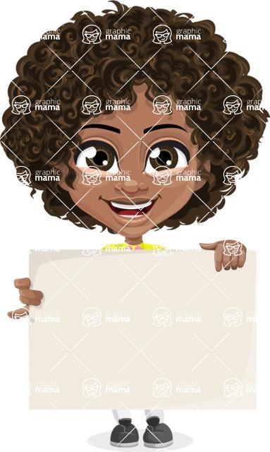 Cute Curly African American Girl Cartoon Vector Character AKA Alana - Sign 2