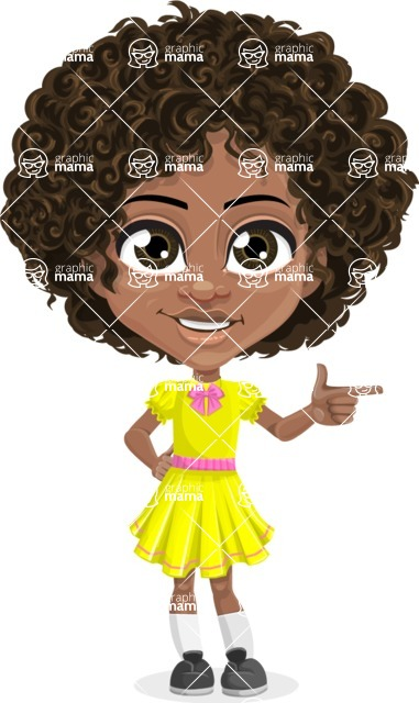 Cute Curly African American Girl Cartoon Vector Character AKA Alana - Point