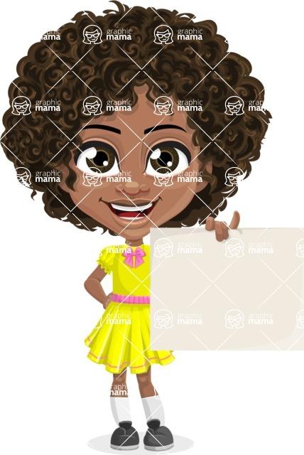 Cute Curly African American Girl Cartoon Vector Character AKA Alana - Sign 3