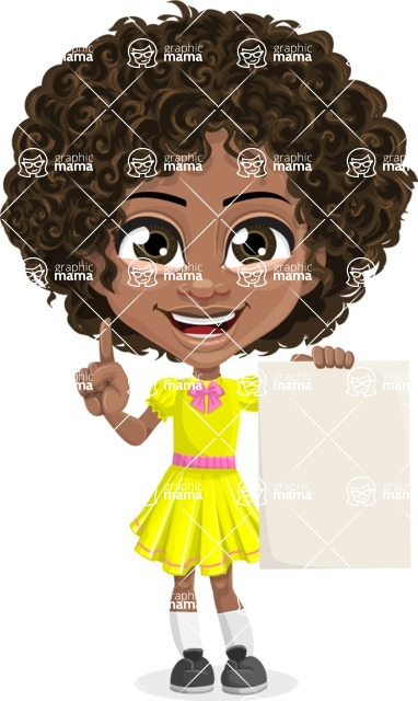 Cute Curly African American Girl Cartoon Vector Character AKA Alana - Sign 4