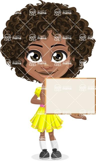 Cute Curly African American Girl Cartoon Vector Character AKA Alana - Sign 5