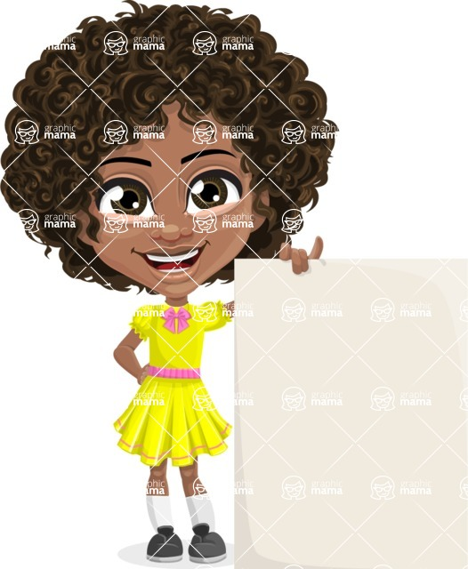 Cute Curly African American Girl Cartoon Vector Character AKA Alana - Sign 8