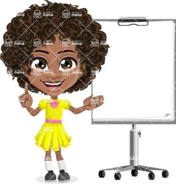 Cute Curly African American Girl Cartoon Vector Character AKA Alana - Presentation 2