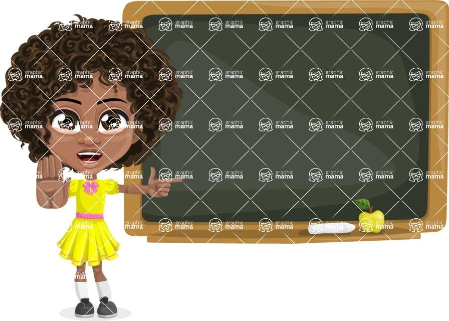 Cute Curly African American Girl Cartoon Vector Character AKA Alana - Presentation 4