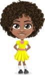 Cute Curly African American Girl Cartoon Vector Character AKA Alana - Normal