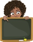 Cute Curly African American Girl Cartoon Vector Character AKA Alana - Presentation 5