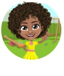 Cute Curly African American Girl Cartoon Vector Character AKA Alana - Shape 1