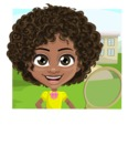 Cute Curly African American Girl Cartoon Vector Character AKA Alana - Shape 2