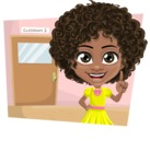 Cute Curly African American Girl Cartoon Vector Character AKA Alana - Shape 3