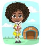 Cute Curly African American Girl Cartoon Vector Character AKA Alana - Shape 6
