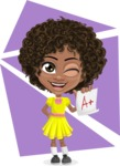 Cute Curly African American Girl Cartoon Vector Character AKA Alana - Shape 9