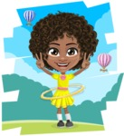 Cute Curly African American Girl Cartoon Vector Character AKA Alana - Shape 11