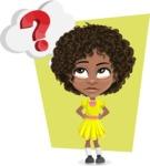Cute Curly African American Girl Cartoon Vector Character AKA Alana - Shape 12