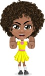 Cute Curly African American Girl Cartoon Vector Character AKA Alana - Stop