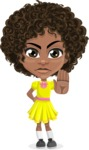 Cute Curly African American Girl Cartoon Vector Character AKA Alana - Stop 2
