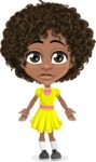 Cute Curly African American Girl Cartoon Vector Character AKA Alana - Stunned