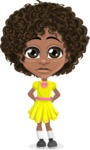 Cute Curly African American Girl Cartoon Vector Character AKA Alana - Sad
