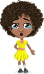 Cute Curly African American Girl Cartoon Vector Character AKA Alana - Sad 2