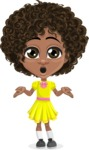 Cute Curly African American Girl Cartoon Vector Character AKA Alana - Lost