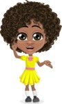 Cute Curly African American Girl Cartoon Vector Character AKA Alana - Lost 2