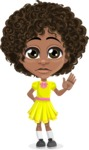Cute Curly African American Girl Cartoon Vector Character AKA Alana - Goodbye
