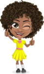 Cute Curly African American Girl Cartoon Vector Character AKA Alana - Thumbs Up