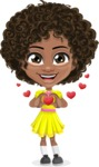 Cute Curly African American Girl Cartoon Vector Character AKA Alana - Show Love