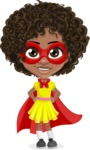 Cute Curly African American Girl Cartoon Vector Character AKA Alana - Supergirl