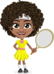 Cute Curly African American Girl Cartoon Vector Character AKA Alana - Tennis