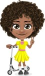 Cute Curly African American Girl Cartoon Vector Character AKA Alana - Scooter