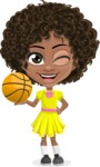 Cute Curly African American Girl Cartoon Vector Character AKA Alana - Basketball