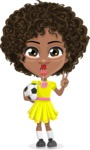 Cute Curly African American Girl Cartoon Vector Character AKA Alana - Soccer