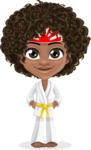 Cute Curly African American Girl Cartoon Vector Character AKA Alana - Karate