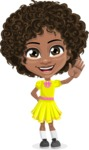 Cute Curly African American Girl Cartoon Vector Character AKA Alana - Wave