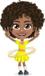Cute Curly African American Girl Cartoon Vector Character AKA Alana - Hoop