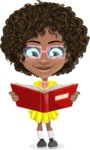 Cute Curly African American Girl Cartoon Vector Character AKA Alana - Book 1