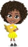 Cute Curly African American Girl Cartoon Vector Character AKA Alana - Book 2