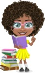 Cute Curly African American Girl Cartoon Vector Character AKA Alana - Book