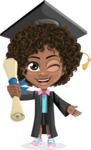 Cute Curly African American Girl Cartoon Vector Character AKA Alana - Graduate