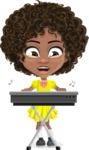 Cute Curly African American Girl Cartoon Vector Character AKA Alana - Music 1
